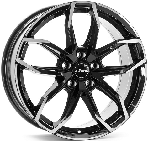 6,5x17 4x100 ET45 DIA63,3 Diamond Black Front Polished Rial Lucca